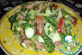 Рецепт: Салат с брокколи и перепелиным яйцом