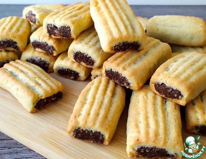 Рецепт: Нежное рассыпчатое печенье с начинкой