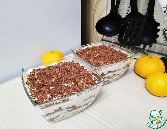 Рецепт: Шоколадно-мандариновый десерт без выпечки