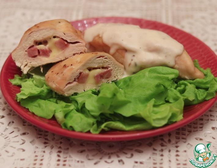 Рецепт: Куриная грудка, фаршированная ветчиной и сыром