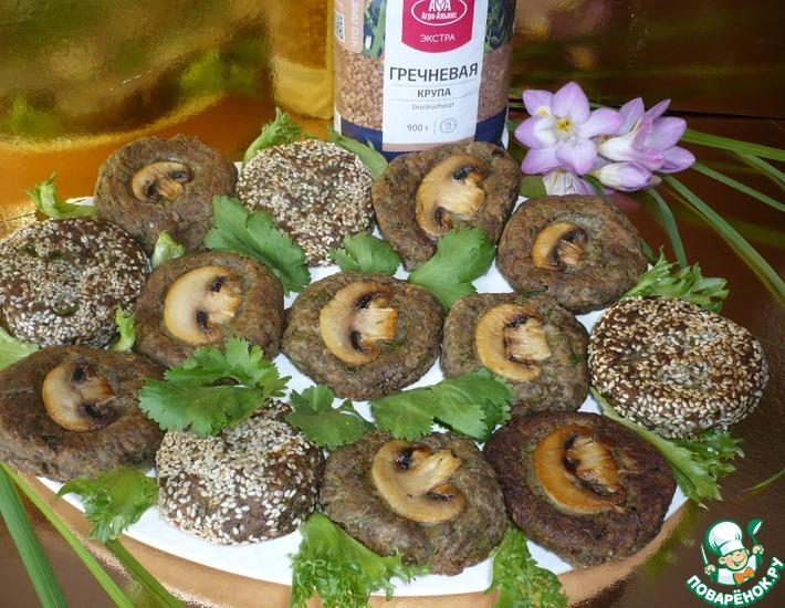 Рецепт: Котлеты гречневые с грибами и чиа