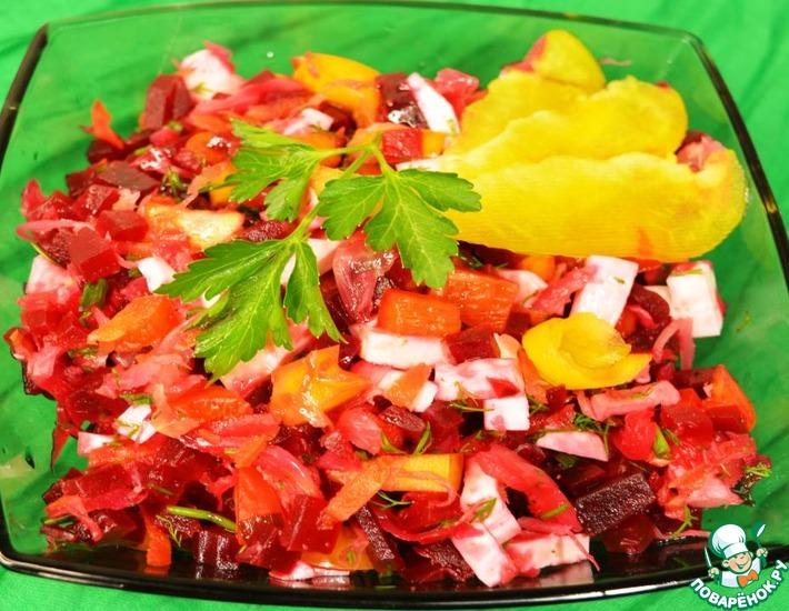 Рецепт: Лёгкий салат с овощами и сыром