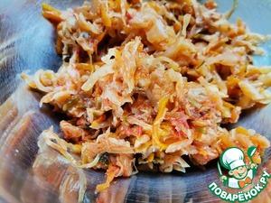 Постные жареные пирожки с капустой и рисом Начинка