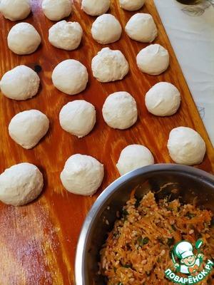 Постные жареные пирожки с капустой и рисом Дрожжи
