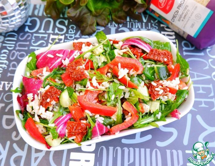 Рецепт: Салат Свежесть из риса и овощей