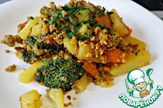 Рецепт: Картошка с фаршем и овощами