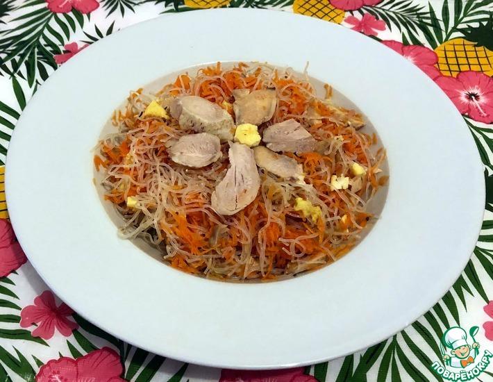 Рецепт: Фунчоза с морковью и отварной курицей