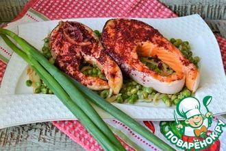 Рецепт: Лосось-гриль со сливочным зелёным горошком