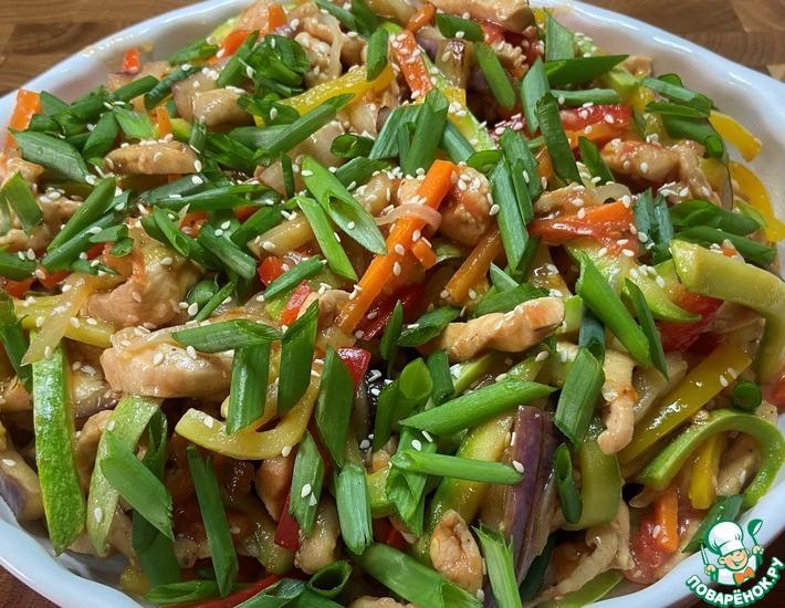Рецепт: Куриное филе с овощами в соусе терияки