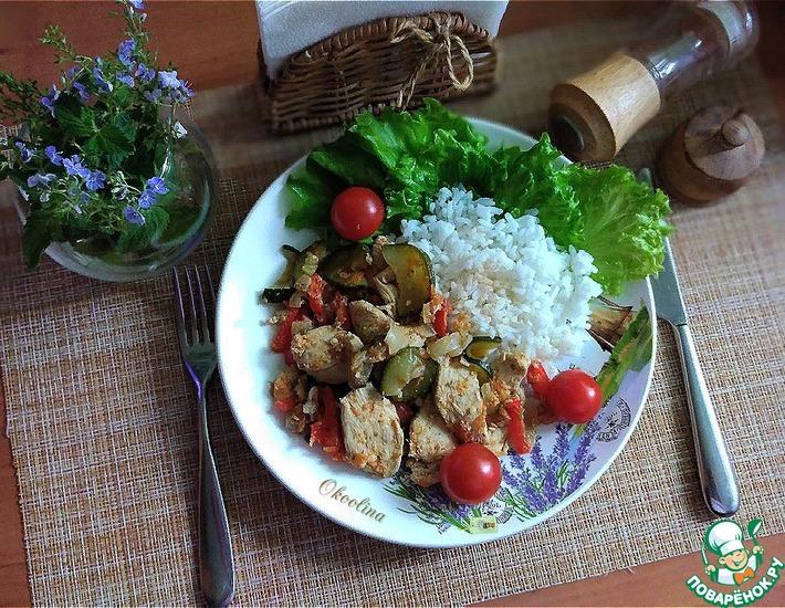 Рецепт: Тушёная куриная грудка с овощами