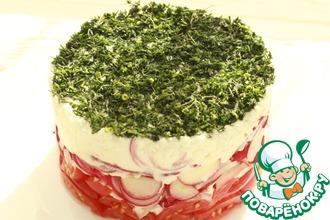 Рецепт: Салат из помидоров с редисом и творогом