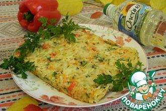 Рецепт: Запеканка капустная с картофелем, перцем и морковью