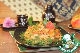 Рецепт: Теплый салат Соломка с аджикой