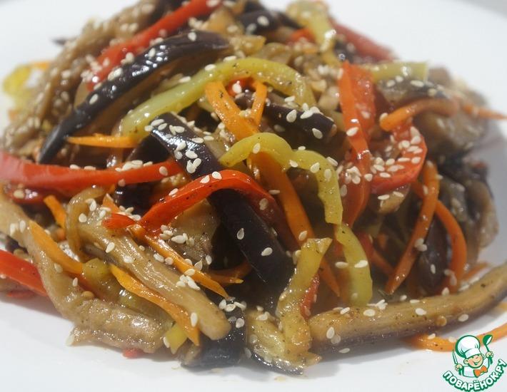 Рецепт: Салат по-корейски из баклажанов