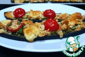 Рецепт: Баклажаны с сырно-овощной начинкой
