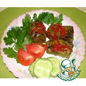 Рецепт: Мясо в виноградных листьях
