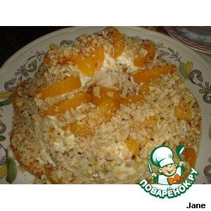Рецепт: Песочный торт с персиками