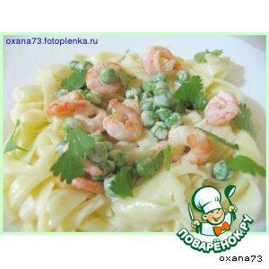 Рецепт Linguine с креветками и зеленым горошком