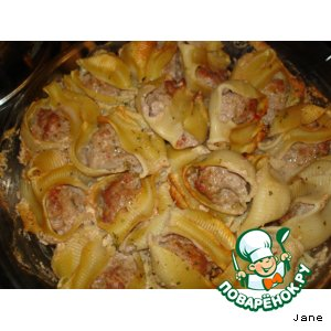 Рецепт: Фаршированные рожки под соусом