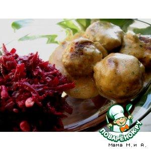 Рецепт: Мясные тефтели в сливочно-сырно-грибном соусе