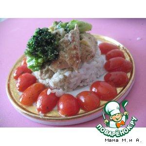 Рецепт: Курица в сливочно-грибном соусе с брокколи