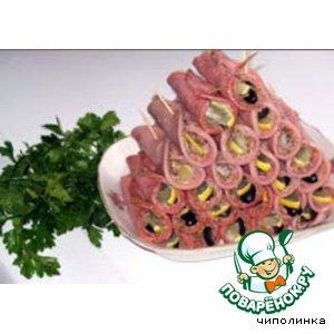 Рецепт Колбасные трубочки с орехами