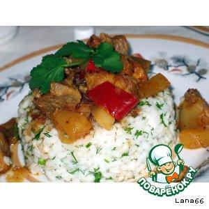 Рецепт: Свинина с кусочками ананаса