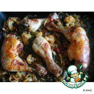 Рецепт: Курица на овощной подушке