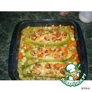 Рецепт: Кабачки, фаршированные креветками