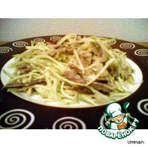 Салат мясной с зеленой редькой