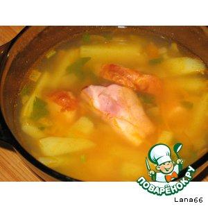 Рецепт Суп гороховый с копченой грудинкой