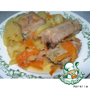 Рецепт: Свиные ребрышки с овощами
