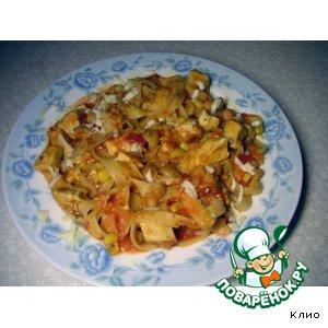 Рецепт: Лингвини с курицей фасолью и томатами