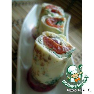 Рецепт: Зеленые блинные рулеты с лососем
