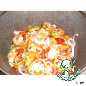 Рецепт: Тушеная рыба с овощами