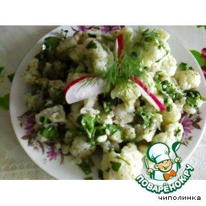 Рецепт: Салат из цветной капусты с острым соусом