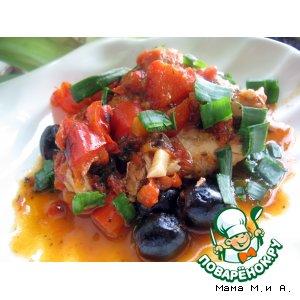 Рецепт: Курица по-болгарски в соусе из перцев и оливок