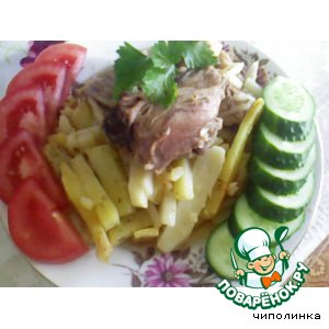 Рецепт: Окорочка с картофелем в горшочке