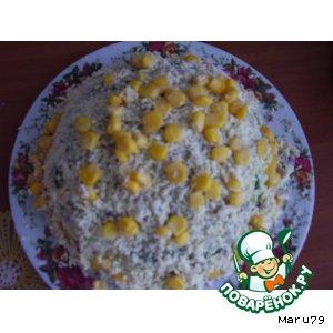 Рецепт: Крабовый салат Одуванчик