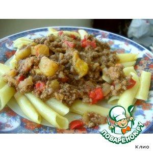 Рецепт: Макароны в мясном тропическом соусе