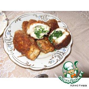 Рецепт: Куриный рулет с зеленой начинкой