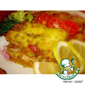 Рецепт: Запеченный пангасиус под овощами