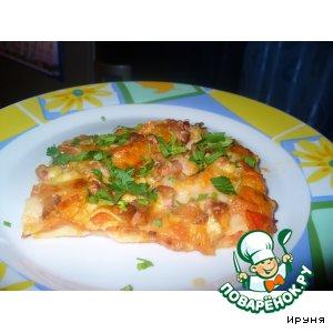 Рецепт: Лазанья с помидорами, сыром и беконом