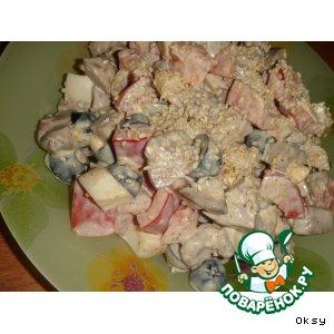Рецепт: Салат из куриной печени с помидорами
