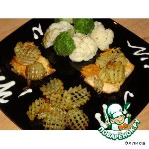 Рецепт: Запеченная куриная грудка с овощным гарниром