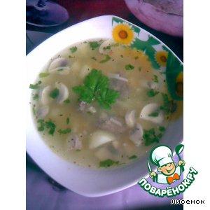 Рецепт: Грибной супец с куриными сердечками