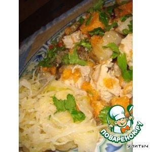 Рецепт: Индюшка с овощами в рукаве
