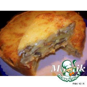 Рецепт: Картофельно-грибной киш-пирог