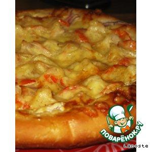 Рецепт Пицца с креветками на белом соусе