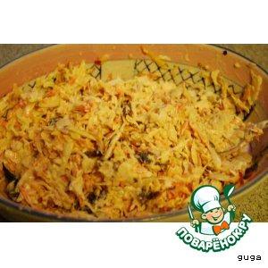 Рецепт: Салат из белокочанной капусты с черносливом